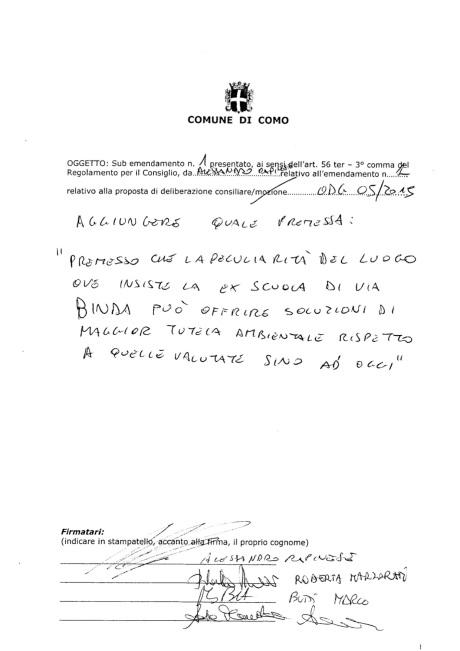 Emendamento per motivare esclusione via Binda dal piano triennale delle alienazioni